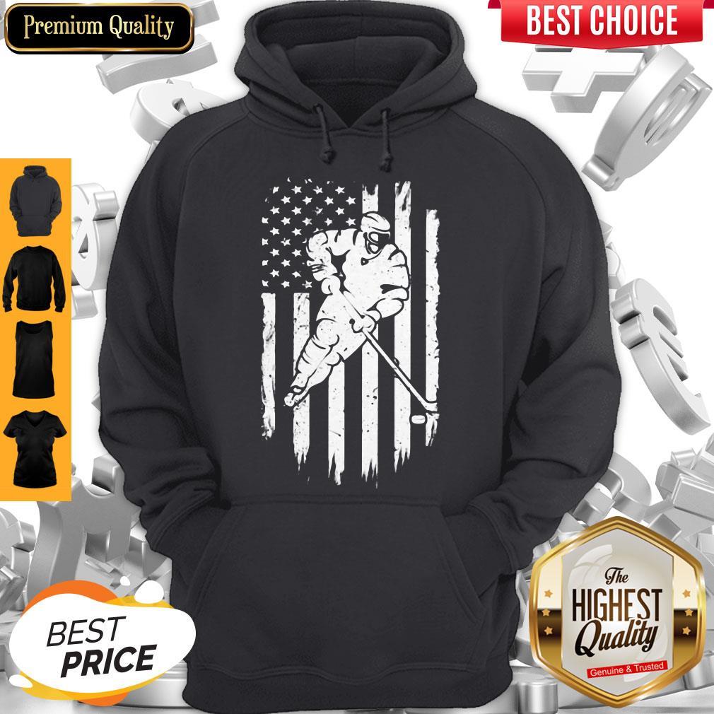 Hockey American Flag Veteran Independence Day Hoodie
