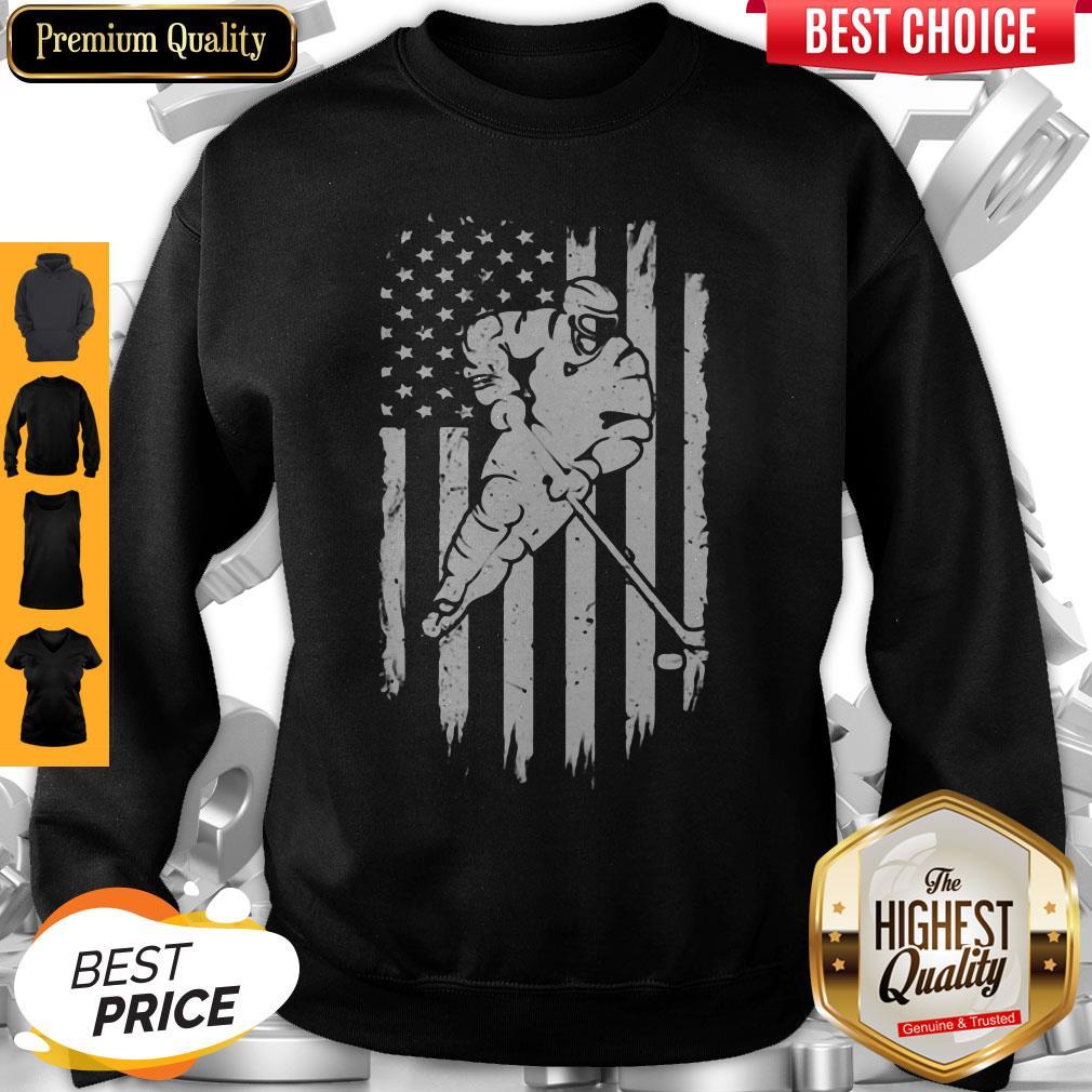 Hockey American Flag Veteran Independence Day Sweatshirt