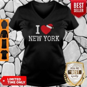 I Heart New York Christmas Santa Hat New York Strong Love V-neck