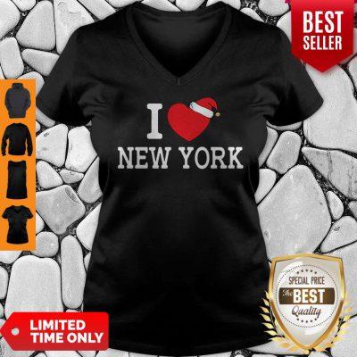 I Heart New York Christmas Santa Hat New York Strong Love V-neck