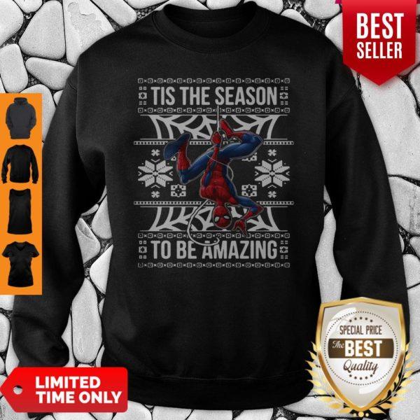 Marvel Spider Man Tis The Season To Be Amazing Ugly Christmas Sweatshirt
