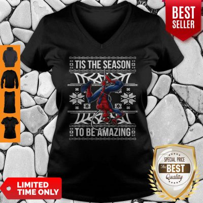 Marvel Spider Man Tis The Season To Be Amazing Ugly Christmas V-neck