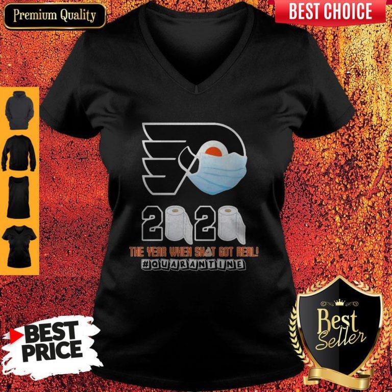 Philadelphia Flyers Mask 2020 The Year When Shit Got Real Quarantine Toilet Paper V-neck