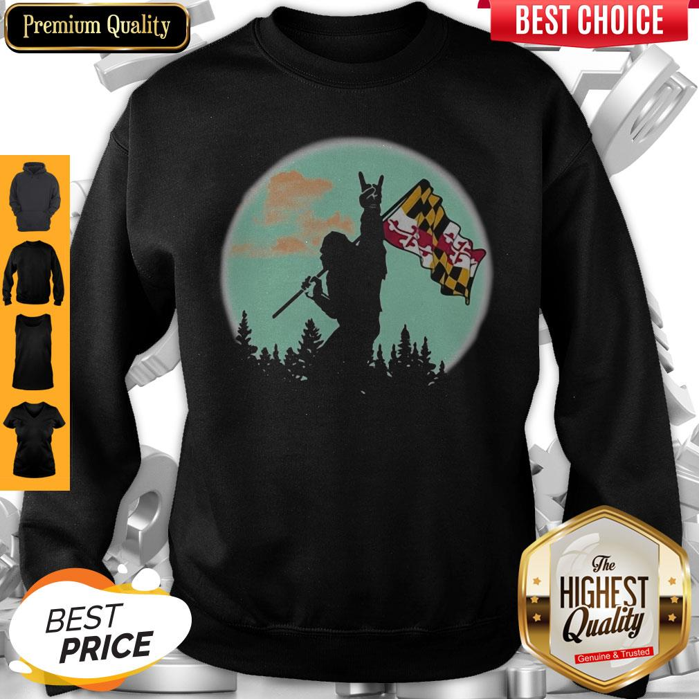 Premium Maryland Flag Bigfoot Moon Sweatshirt