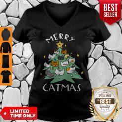 Premium Merry Catmas Funny Cool Christmas V-neck