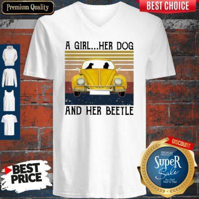 Volkswagen Beetle A Girl Her Dog And Her Beetle Vintage V-neck