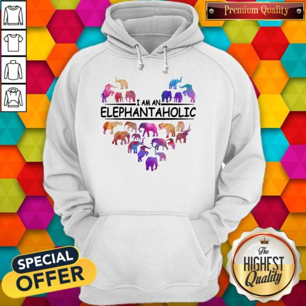 Colorful I Am An Elephant Aholic Hoodie
