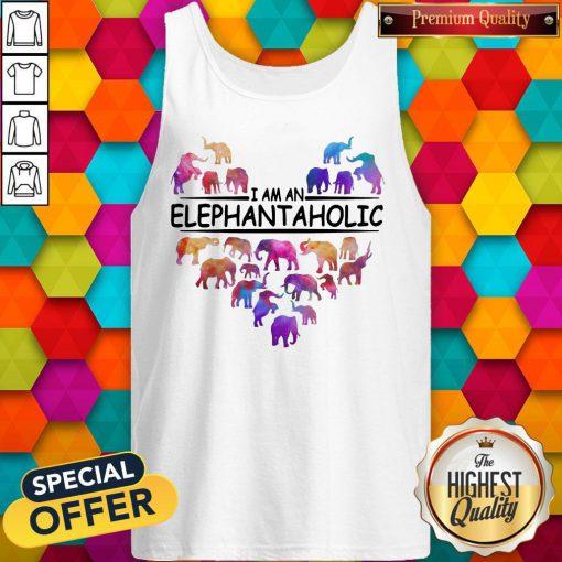 Colorful I Am An Elephant Aholic Tank Top