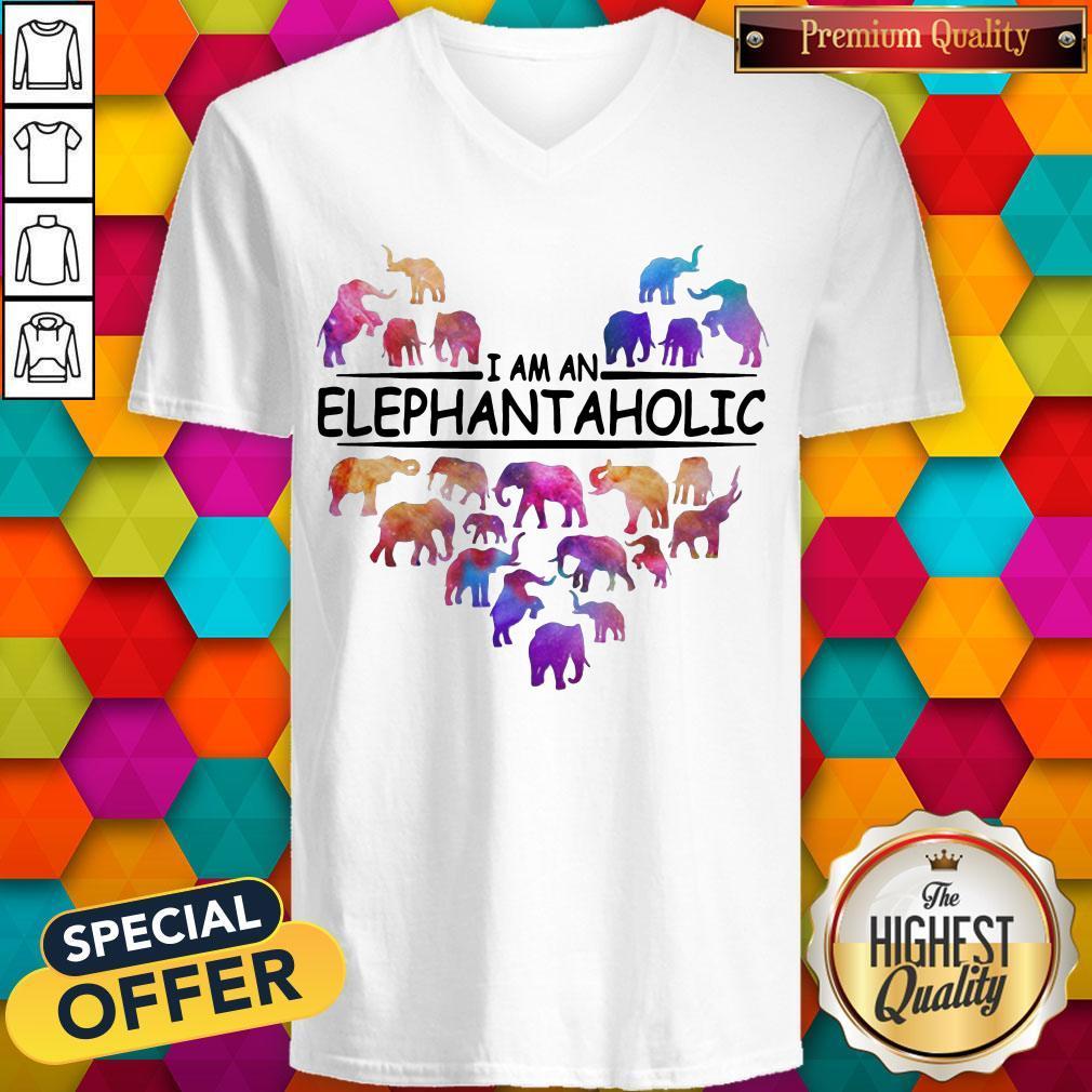 Colorful I Am An Elephant Aholic V-neck