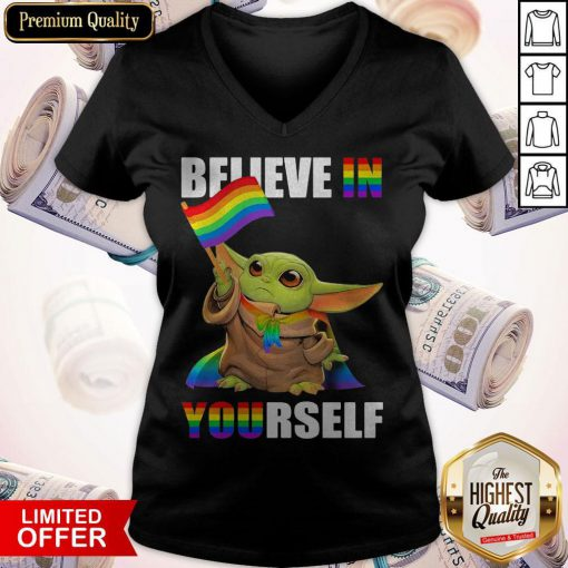 Cute Baby Yoda Believe In Yourself LGBT Price V-neck