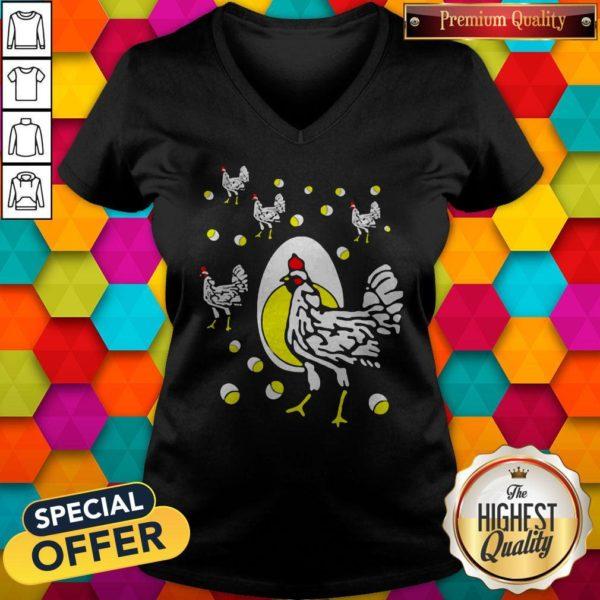 Cute Black Hens White Eggs V-neck