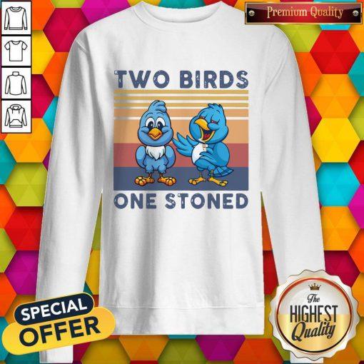 Cute Two Blue Birds One Stoned Vintage Hoodie