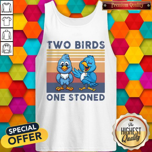 Cute Two Blue Birds One Stoned Vintage Tank Top