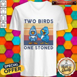 Cute Two Blue Birds One Stoned Vintage V-neck
