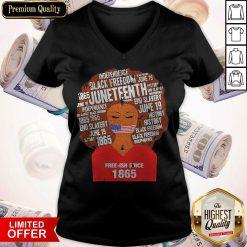 Funny Black Woman Juneteenth Since 1865 Free-ish V-neck