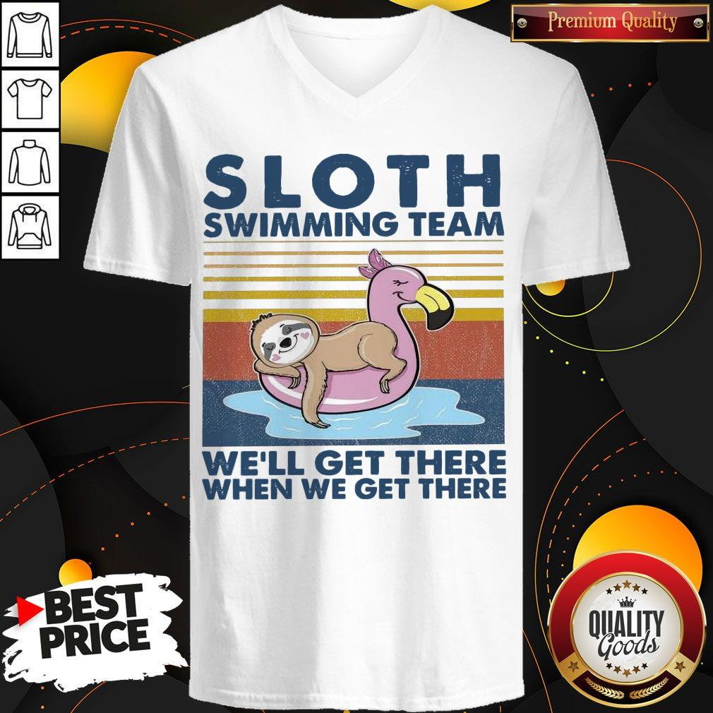 Good Sloth Swimming Team We'll Get There When We Get There Vintage V-neck