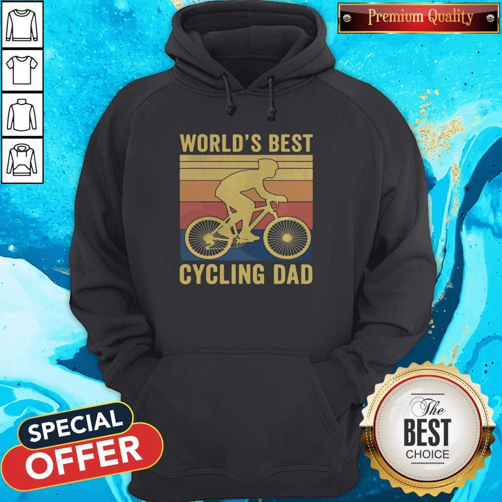Good Worlds Best Cycling Dad Vintage Retro Hoodie