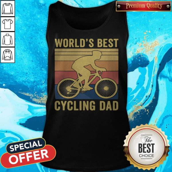 Good Worlds Best Cycling Dad Vintage Retro Tank Top