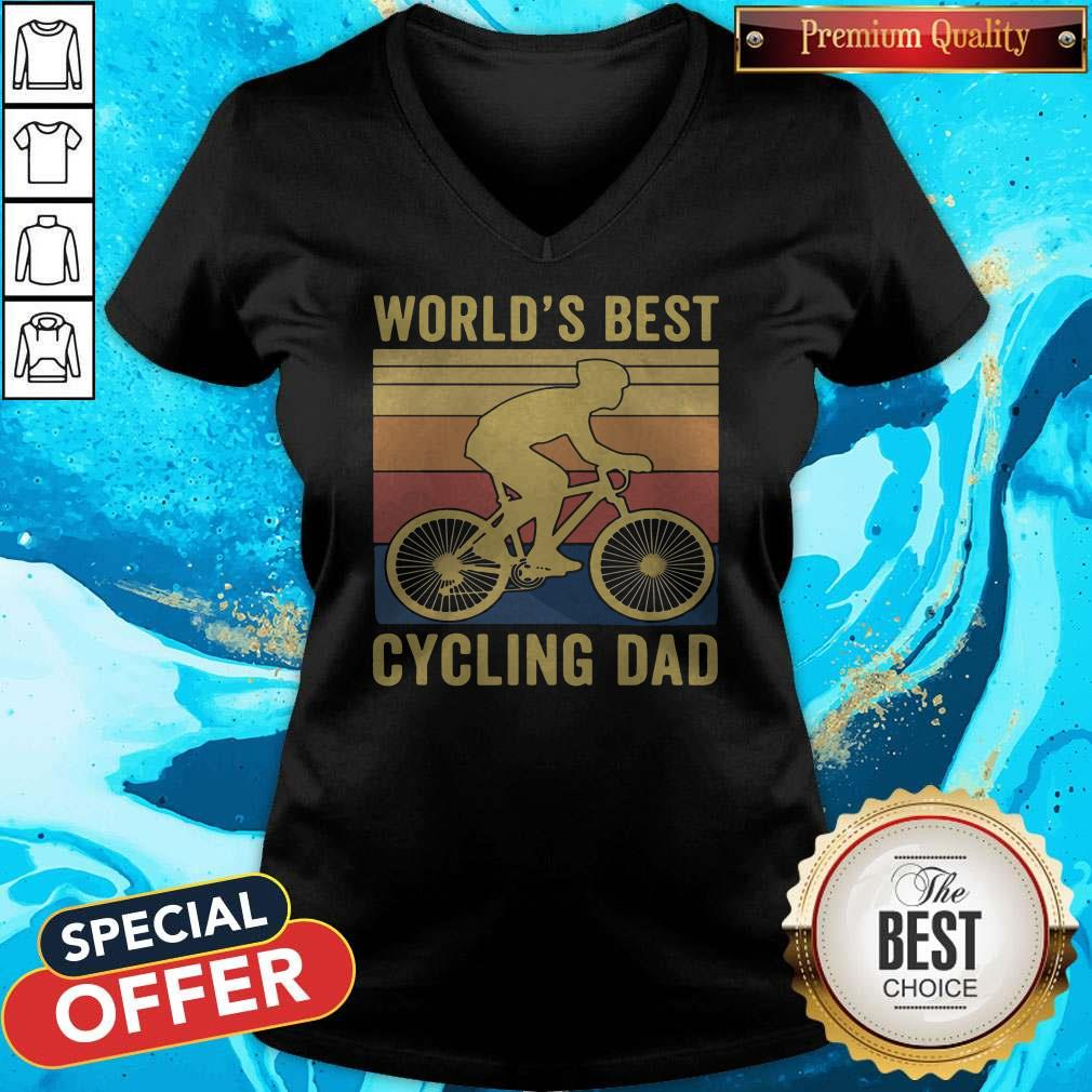 Good Worlds Best Cycling Dad Vintage Retro V-neck