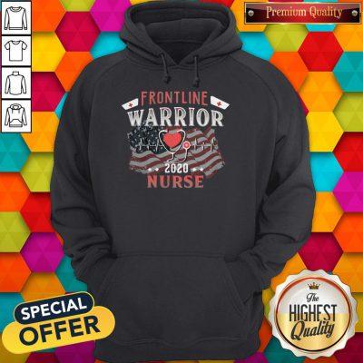 Nice Frontline Warrior Nurse 2020 Ear Piece American Flag Independence Day Hoodie