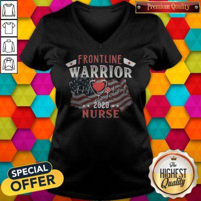 Nice Frontline Warrior Nurse 2020 Ear Piece American Flag Independence Day V-neck