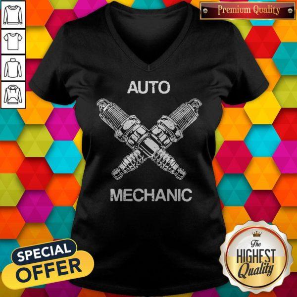 Perfect Auto Mechanic Two Screws White V-neck