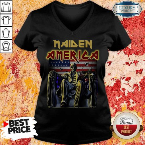 Perfect Iron Maiden American Flag V-neck