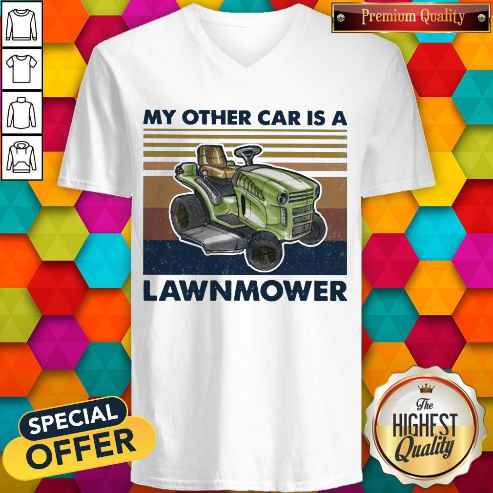 Perfect My Other Car Is A Lawnmower Vintage V-neck