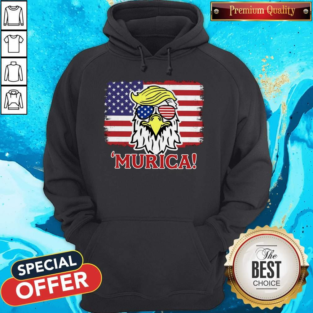 Premium Murica Trump Eagle American Flag 4th July Hoodie