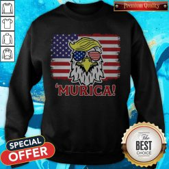 Premium Murica Trump Eagle American Flag 4th July Sweatshirt