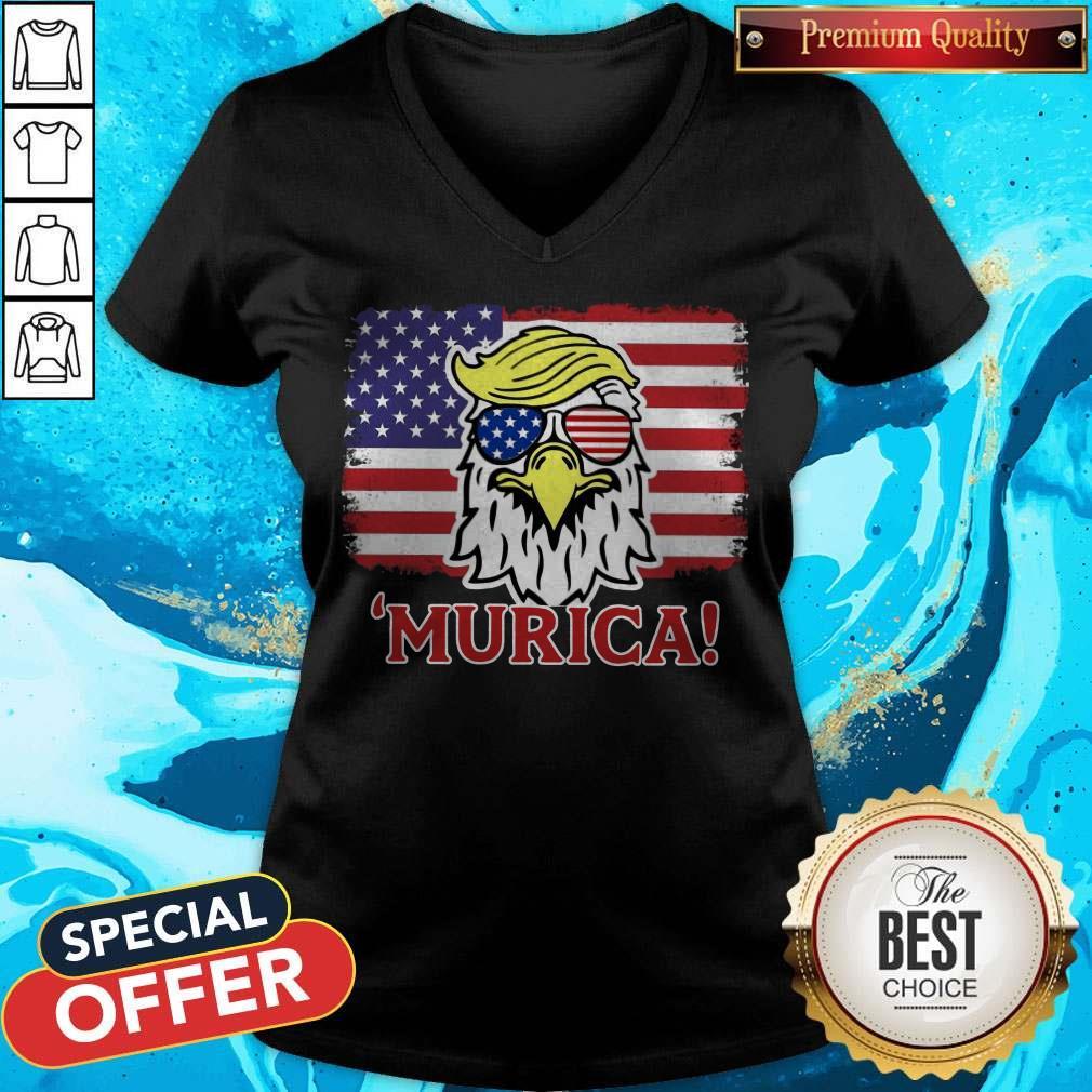 Premium Murica Trump Eagle American Flag 4th July V-neck