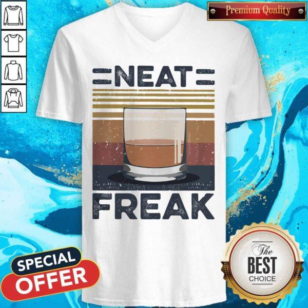 Premium Tea Neat Freak Vintage Retro V-neck
