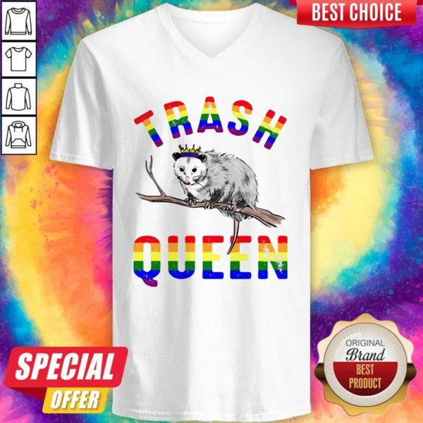 Pretty LGBT Opossum Trash Queen V-neck