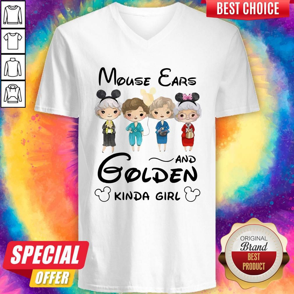 Pretty Mickey Mouse Cars And Golden Kinda Girl  V-neck
