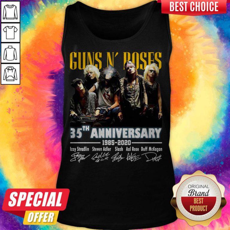 Top Guns N' Roses 35th Anniversary 1985 2020 Signatures Tank Top