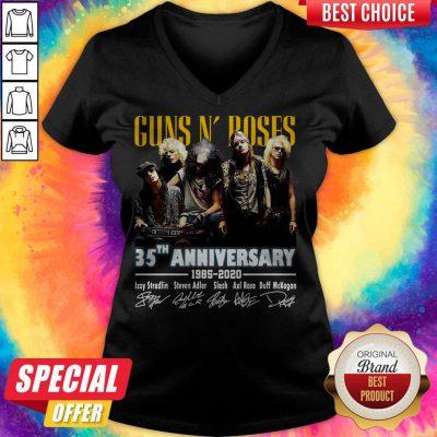 Top Guns N' Roses 35th Anniversary 1985 2020 Signatures V-neck