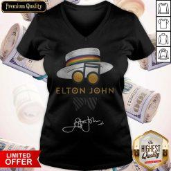 Awesome Elton John Hat Signature V-neck