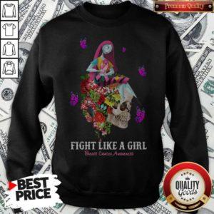 Cute Skull Fight Like A Girl Breast Cancer Awareness Sweatshirt