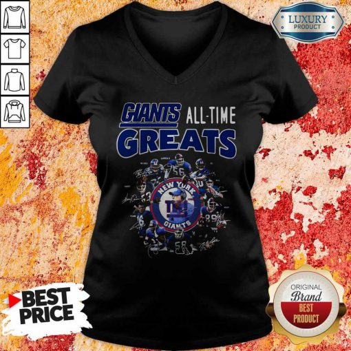 Good New York Giants Football All Time Greats Players Signatures V-neck