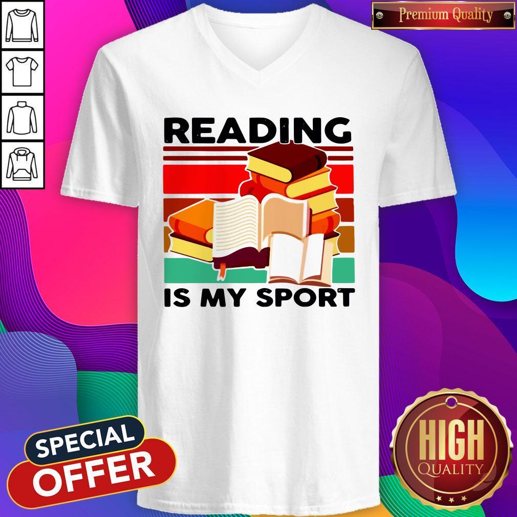 Good Reading Books Is My Sport Vintage V-neck