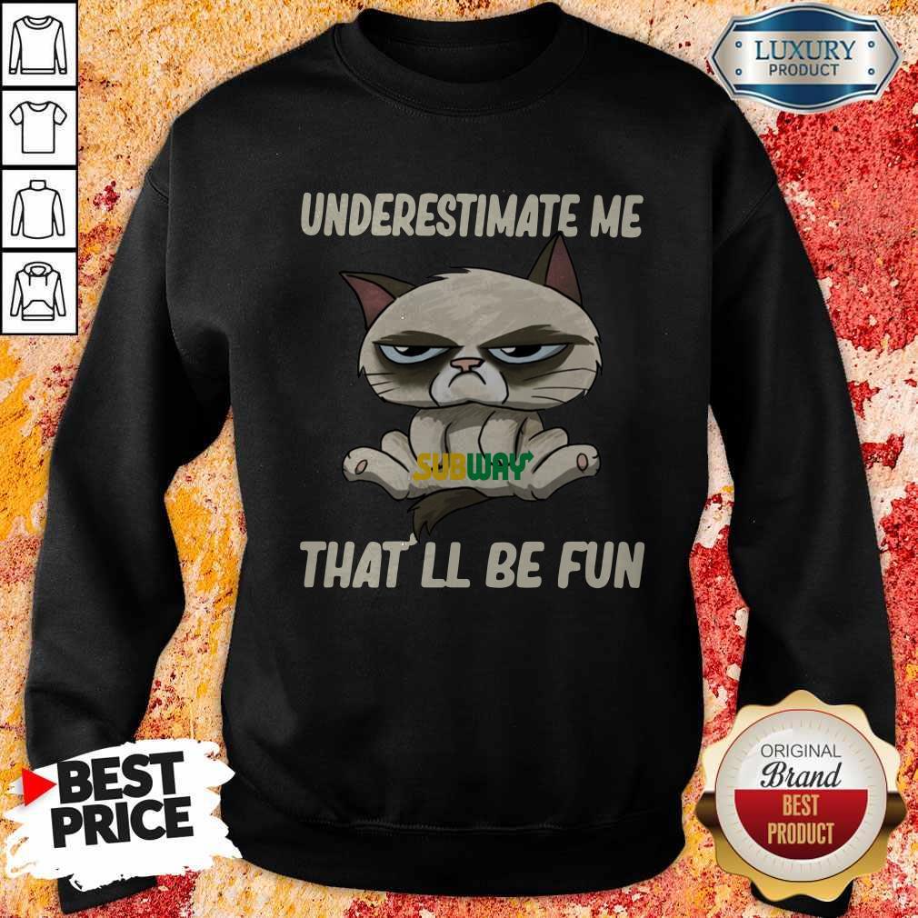 Grumpy Cat Hug Subway Underestimate Me That'll Be Fun Sweatshirt