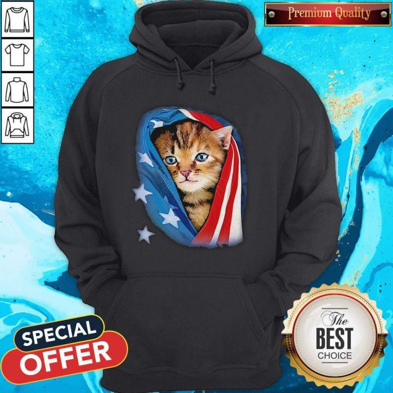 Cute American Flag Cat Hoodie