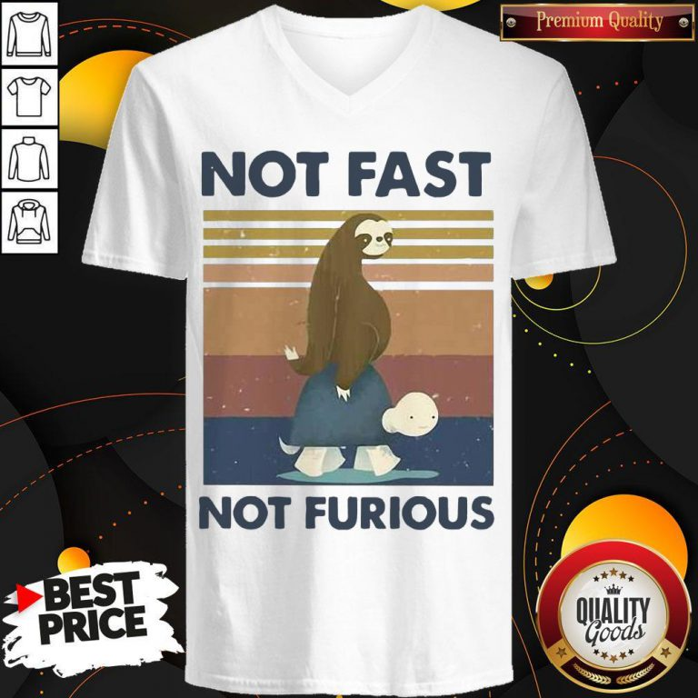 Hot Sloth Turtle Not Fast Not Furious Vintage V-neck