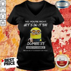 Minions No You'Re Right Let'S Do It The Dumbest Way Possible Because Its Easier For You V-neck