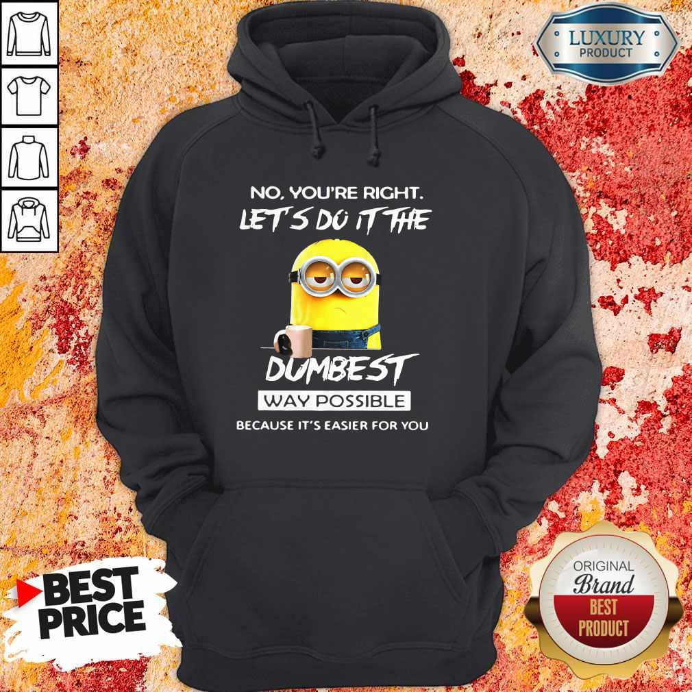 Minions No You'Re Right Let'S Do It The Dumbest Way Possible Because Its Easier For You Hoodie