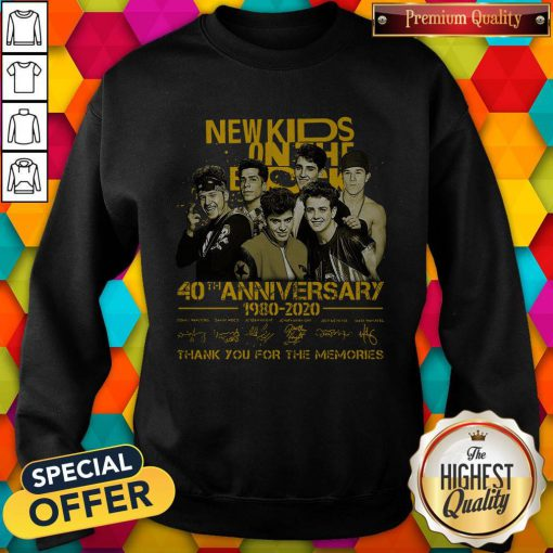 New Kids On The Block 40th Anniversary 1980 2020 Thank You For The Memories Signatures Sweatshirt