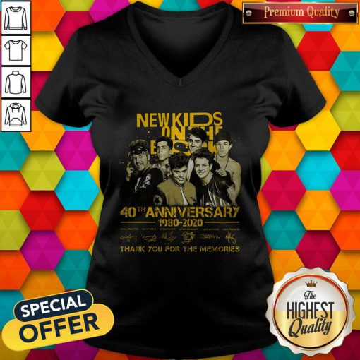 New Kids On The Block 40th Anniversary 1980 2020 Thank You For The Memories Signatures V-neck