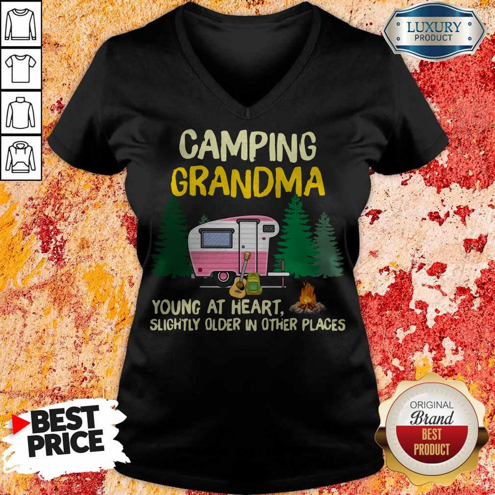 Nice Camping Grandpa Young At Heart Slightly Older In Other Places V-neck