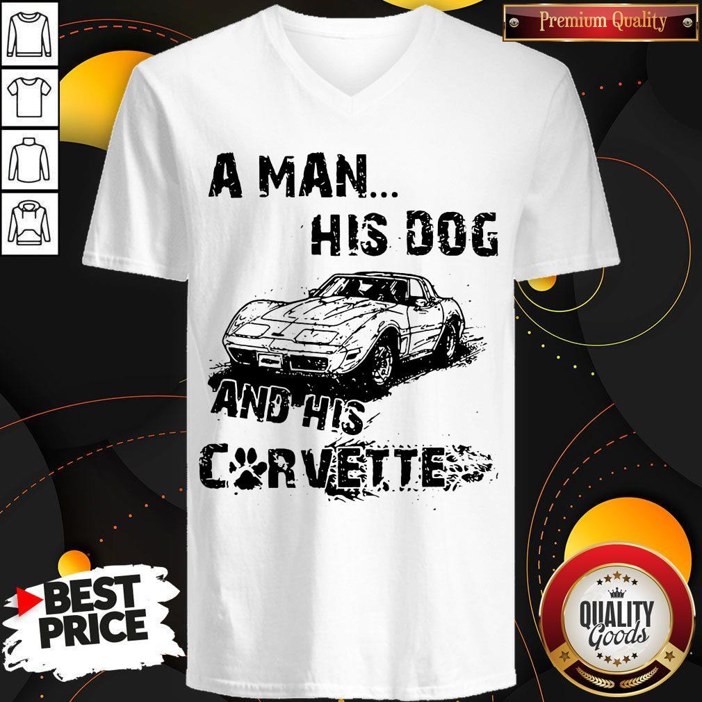 Perfect A Man His God And His Corvette V-neck