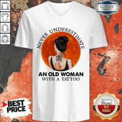 Perfect Never Underestimate An Old Woman With A Tattoo Moon Blood V-neck